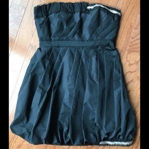 BCBG Black Strapless Beaded Bubble Dress Sz 8